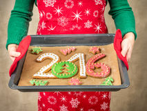 2016 New Year cookies Stock Photos