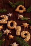 New year 2019 cookies on wooden table stock photo
