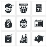 New year corporate  icons set Stock Photo