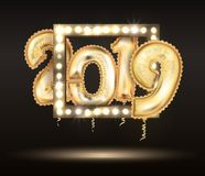 The 2018 New Year Count Symbol Balloon Greeting Card Stock Photography