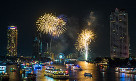 New year countdown celebration fireworks in Bangkok Stock Photo