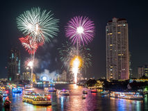 New year countdown celebration fireworks in Bangkok Stock Image