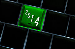 New year countdown 2014. Concept with back lit keyboard Royalty Free Stock Image