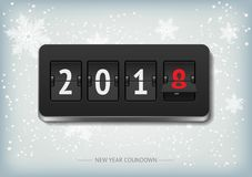New Year countdown vector banner. Analog scoreboard flip calendar for new year 2018 on light gray backround with snowflakes royalty free illustration