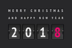 New Year countdown vector banner. New year concept, analog counter 2018 for greating card and web sites Stock Image