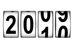 New Year counter. Close view of year counter with changing lower digits stock illustration