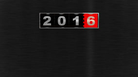 2016 New Year Counter. 2016 counter on black brushed metal plate. New Year concept illustration. Render image Stock Illustration