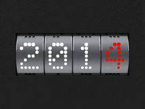 New year 2014 counter. Design component of a counter dial that is showing the year 2014, three-dimensional rendering Vector Illustration