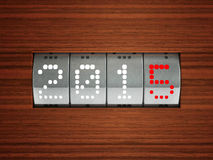 New year 2015 counter. Design component of a counter dial that is showing the year 2015, three-dimensional rendering Royalty Free Stock Photography