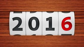 New year 2016 counter. Design component of a counter dial that is showing the year 2016, three-dimensional rendering Stock Photo