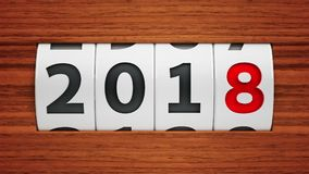 New year 2018 counter. Design component of a counter dial that is showing the year 2018, three-dimensional rendering, 3D illustration Stock Image