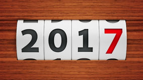 New year 2017 counter. Design component of a counter dial that is showing the year 2017, three-dimensional rendering, 3D illustration Stock Photography