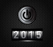 New Year counter 2015 with power button. Vector illustration Stock Photos