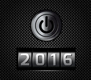 New Year counter 2016 with power button Stock Photo