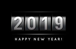 New Year counter 2019 vector illustration on black. New Year counter 2019. VectoriIllustration on black background stock illustration