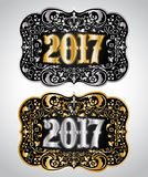 2017 New year Cowboy belt buckle design. 2017 western badge - eps available Stock Images