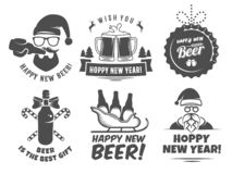 New year craft beer logos and badges. royalty free stock photo