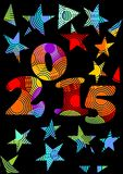 2015 new year crazy  background in rainbow colors with stars Stock Photo