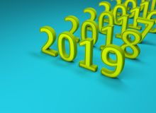 New Year 2019 Creative Design Concept. 3D Rendered Image royalty free illustration