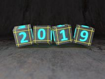 New Year 2019 Creative Design Concept. 3D Rendered Image Stock Photo