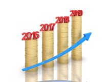 New Year 2019 Creative Design Concept with Gold Coins. 3D Rendered Image royalty free illustration