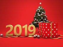 New Year 2019 Creative Design Concept. With Christmas Tree- 3D Rendered Image Royalty Free Stock Photo