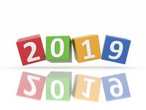 New Year 2019 Creative Design Concept. 3D Rendered Image Royalty Free Stock Photos