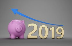 New Year 2019 Creative Design Concept with Piggy Bank. 3D Rendered Image vector illustration