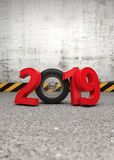 New Year 2019 Creative Design Concept with wheel. 3D Rendered Image Royalty Free Stock Photography