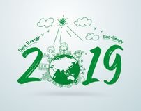 2019 new year in creative drawing environmental and eco-friendly technologies, energy saving, ecological recycling. Vector. Illustration layout template design stock illustration