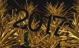New Year, Creative Image, Gold Christmas tree graphic. 2017 New Year, Creative Image, Gold Christmas tree graphic. Excellent desktop or unfolding for the Stock Images