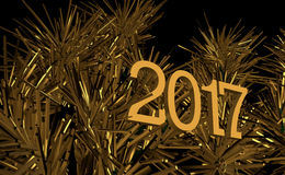 New Year, Creative Image, Gold Christmas tree graphic. 2017 New Year, Creative Image, Gold Christmas tree graphic. Excellent desktop or unfolding for the Royalty Free Stock Images