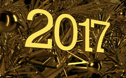 New Year, Creative Image, Gold Christmas tree graphic. 2017 New Year, Creative Image, Gold Christmas tree graphic with golden balls . Excellent desktop or Stock Photography