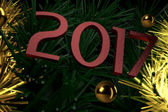 New Year, Creative Image, Gold Christmas tree graphic. 2017 New Year, ruby color inscription, Creative Image, Gold Christmas tree graphic with golden balls Stock Photos