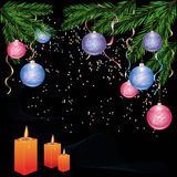 New year and Cristmas background with decorations. Christmas and New Years background with fir - tree, christmas balls and candles. Vector illustration royalty free illustration