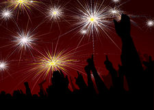 New year crowd fireworks. Crowd scene with fireworks display for new year Royalty Free Stock Photography