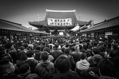 New Year Crowds at Sensoji Temple. Senso-Ji Temple, Tokyo - January 3, 2015:  Crowds make their way along Nakamise-dori to the main hall of Senso-ji temple for Stock Photography