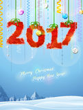 New Year 2017 of crumpled paper as christmas decoration. Winter landscape with christmas congratulation. Vector illustration for new years day, christmas, winter Stock Photography