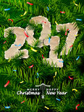New Year 2017 of crumpled paper between pine twigs Stock Image