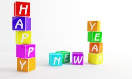 New year cube. New year day like a  children played Royalty Free Stock Photos