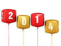 New Year 2014 cube balloons Royalty Free Stock Images