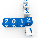 New year cube blue white. 2011 2012 happy new year blue 3d cube Stock Images