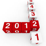 New year cube red white Royalty Free Stock Photography