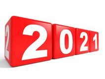 2021 New Year cubes. 3D illustration Stock Photography