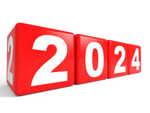 2024 New Year cubes. 3D illustration Royalty Free Stock Photography
