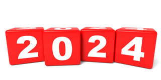 2024 New Year cubes. 3D illustration Stock Photo