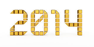 New Year 2014 cubes render. 3d render New Year 2014 gold cubes (isolated on white and clipping path royalty free illustration