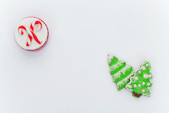 New Year cupcake and cookies Royalty Free Stock Image