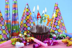 New Year Cupcake with Party Decorations. Royalty Free Stock Image