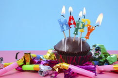 New Year Cupcake with Party Decorations. Stock Images